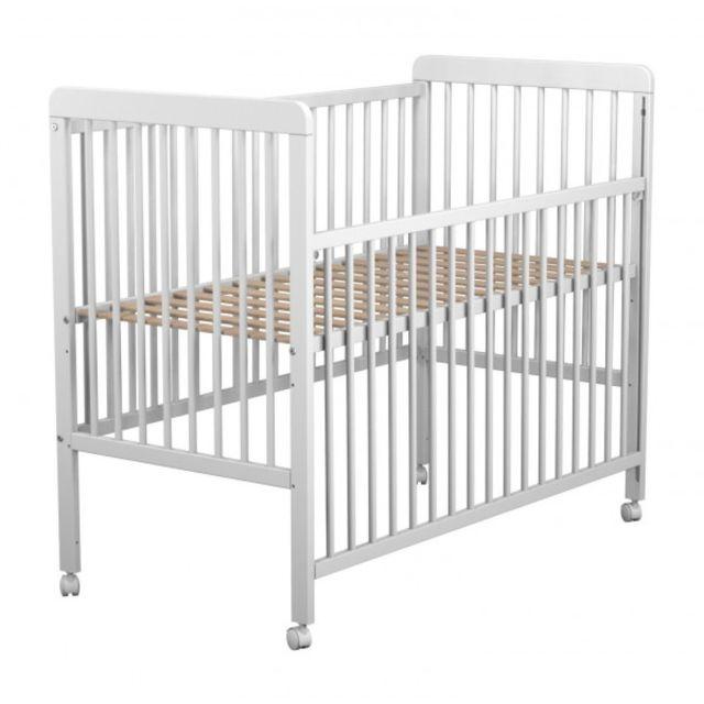 TERRE DE NUIT Lit bébé sur roulettes blanc 60x120