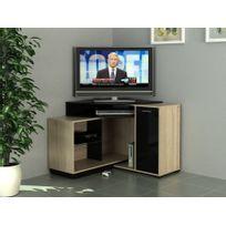 Marque Generique   Meuble Tv Du0027angle Amael Avec Rangements   Coloris Chêne  U0026 Noir