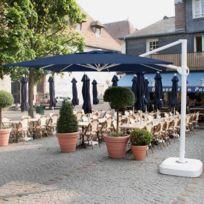 Abritez-vous Chez Nous - Parasol aluminium carré déporté et inclinable 3x3m Decor D Ombre Bleu Marine