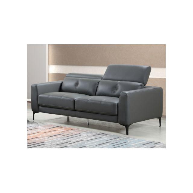 Canapé 3 places en cuir JASPER - Anthracite