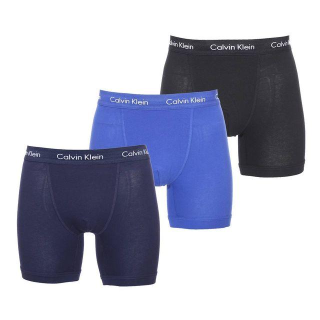 calvin klein lot de 3 boxers en coton stretch noir bleu horizon et bleu nuit pas cher achat. Black Bedroom Furniture Sets. Home Design Ideas