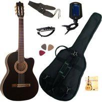 Msa - Pack Guitare Électro-Classique Noire Cordes D'addario 6 Accessoires