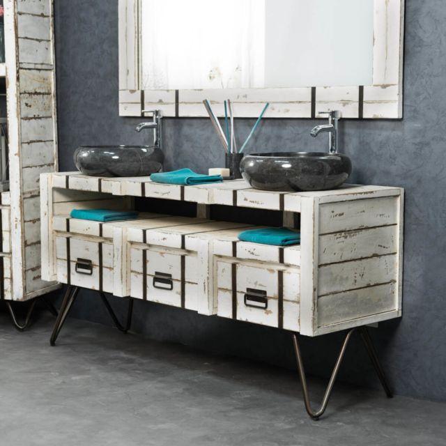 Wanda Collection Meuble double sous vasque Loft mindi et métal 160 blanc