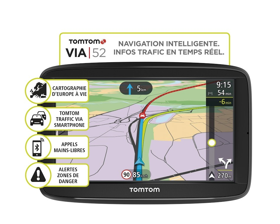 tomtom gps voiture via 52 europe achat vente gps europe pas cher rueducommerce. Black Bedroom Furniture Sets. Home Design Ideas