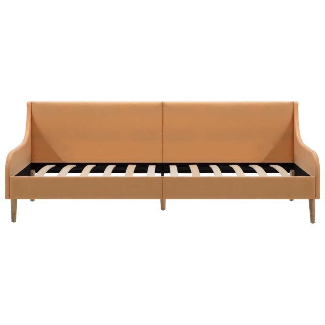 Icaverne - Canapés ensemble Cadre de lit de jour Tissu Orange