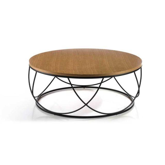 Tousmesmeubles Table basse ronde Chêne/Métal noir - Napier
