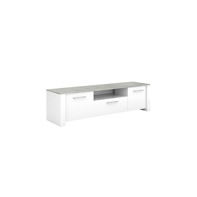 Meuble Tv 2 portes 1 tiroir en décor béton et blanc