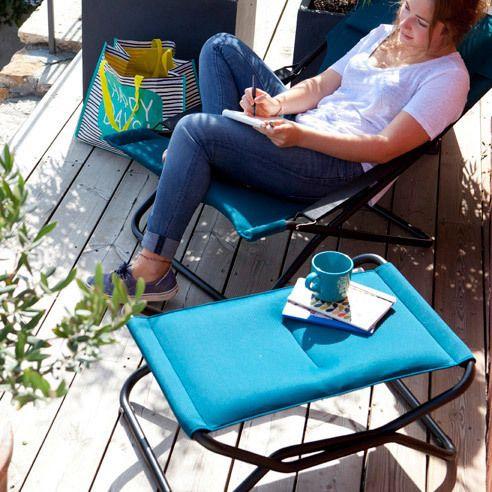 Lafuma Repose pied pliant en acier et toile Air Comfort Next - Bleu corail