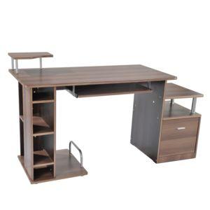 Homcom bureau pour ordinateur table meuble pc for Meuble bureau ordinateur fixe