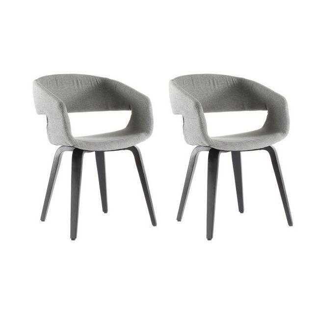 moloo lot de 2 chaises de salle manger gris clair andal
