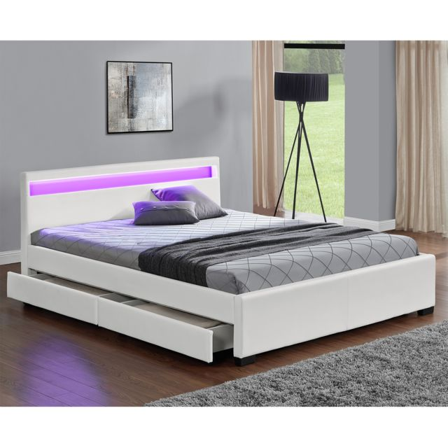 CONCEPT USINE - Lit Enfield Blanc - tête de lit LED et rangement 4 tiroirs 160cm x 200cm