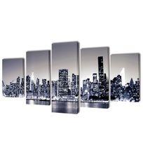 Vida - Set de toiles imprimées Horizon de New York monochrome 100 x 50 cm