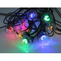Leblanc Illumination - Guirlande extérieure guinguette 10 Led multicolores avec filament longueur 5m Tradition - Câble vert