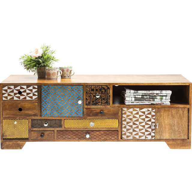 Karedesign Meuble Tv en bois Soleil 3 portes 9 tiroirs Kare Design