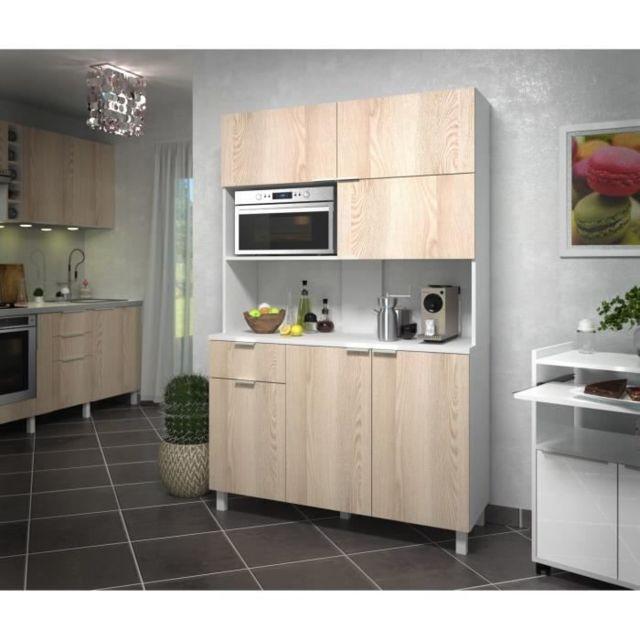 Icaverne BUFFET DE CUISINE LOVA Buffet de cuisine contemporain décor frene sablé et blanc brillant - L 120 cm