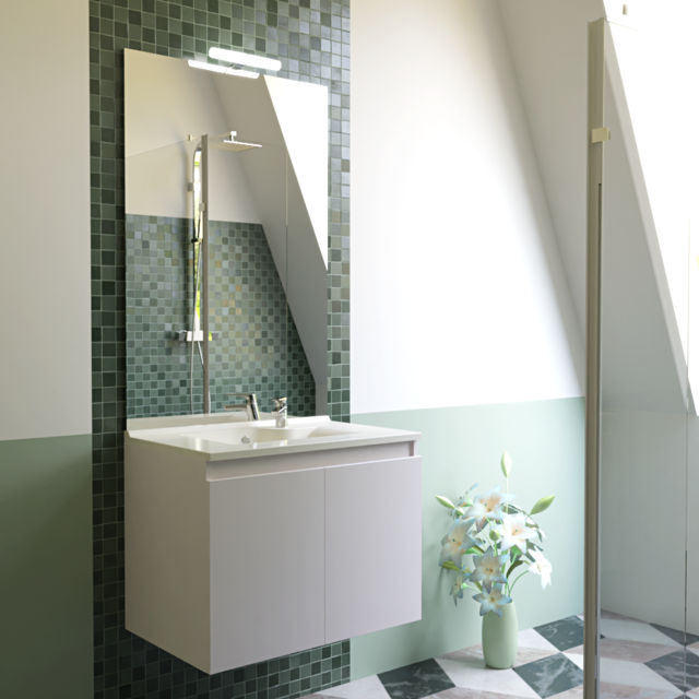 CREAZUR   Meuble Salle De Bain Simple Vasque PROLINE 80   Blanc Brillant