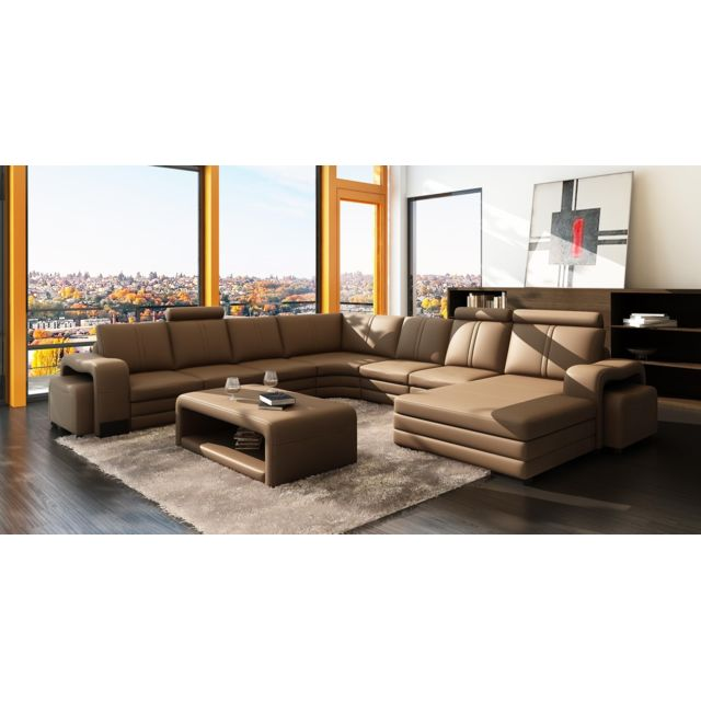 canap d 39 angle panoramique cuir marron 10 places havane. Black Bedroom Furniture Sets. Home Design Ideas
