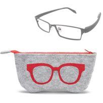 Pour lunettes de soleil   rouge verres Motif de lunettes feutre étui de  protection à glissière 7ca4cdac03f2