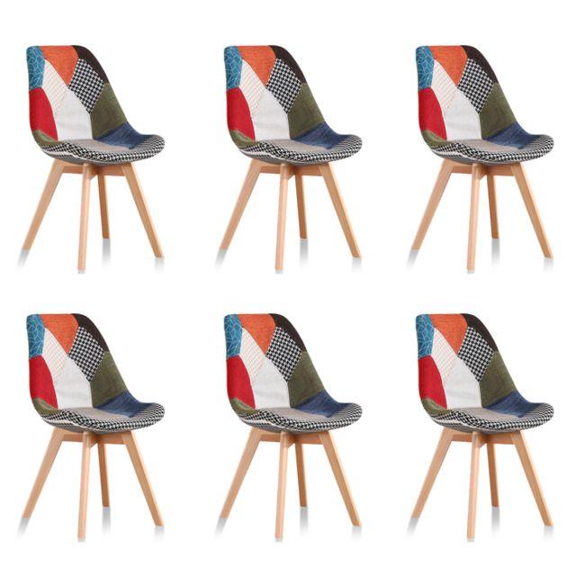 Lot de 6 chaises scandinaves patchwork Prague