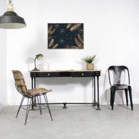 Made In Meubles - Chaise en rotin brun pieds en métal | Vdl-8
