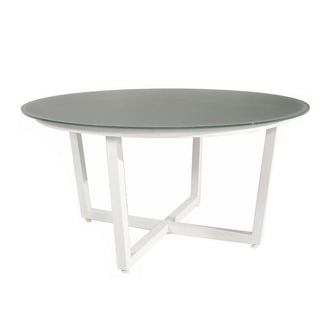 Gecko Jardin - Table ronde alu blanc et verre gris 150 cm ...