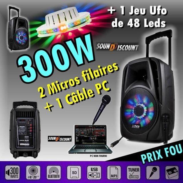 Ibiza Sound Enceinte sono portable karaoké usb bluetooth 300w pour vos soirees dj - 1 ufo 48 led - pa dj sono jeux lumiere