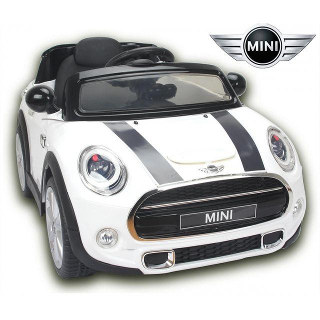 mini voiture lectrique enfant b b 12v cooper s avec radio fm blanc pas cher achat vente. Black Bedroom Furniture Sets. Home Design Ideas