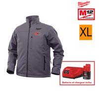 Milwaukee - Veste chauffante grise M12 Hj Grey3-0 taille Xl 4933451594 - Batterie M12 2.0Ah et chargeur C12C 4933451900