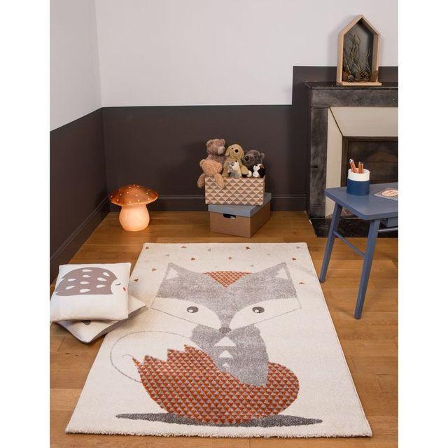 Tapis enfant Renard Blanc Gris rectangle chambre garçon - Couleur - Gris,  Taille - 135 x 190 cm