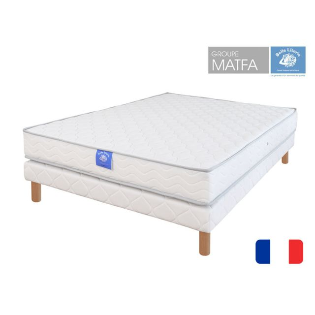 belle literie ensemble matelas rubis sommier tapissier 90x190 blanc pas cher achat vente. Black Bedroom Furniture Sets. Home Design Ideas