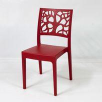 Areta - Chaise de jardin en polypropylène design végétal lot de 4, Teti - Rouge