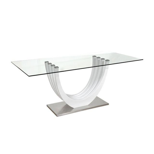 Tousmesmeubles Table de repas laqué blanc brillant - Megs