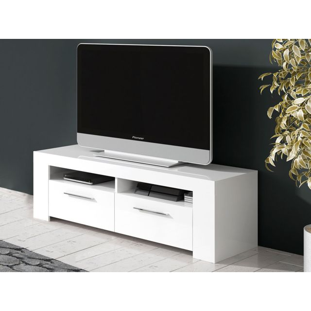 HABITAT ET JARDIN Meuble TV Ambre - 120 x 42 x 37 cm - Blanc Brillant