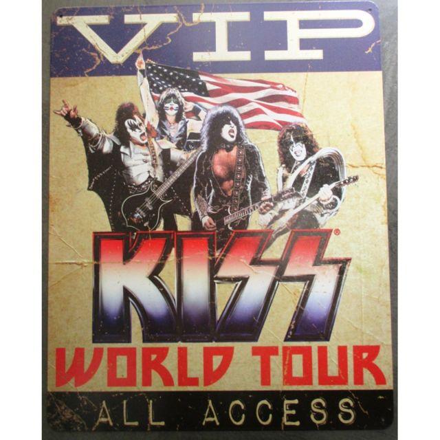 Universel - Plaque Kiss world tour Vip access groupe hard rock 40cm tole  deco fan musique d51b5c42482
