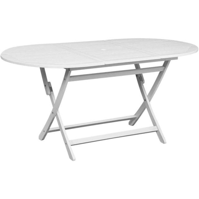 Vidaxl - Table d\'extérieur en bois d\'acacia Ovale Blanche - pas cher ...