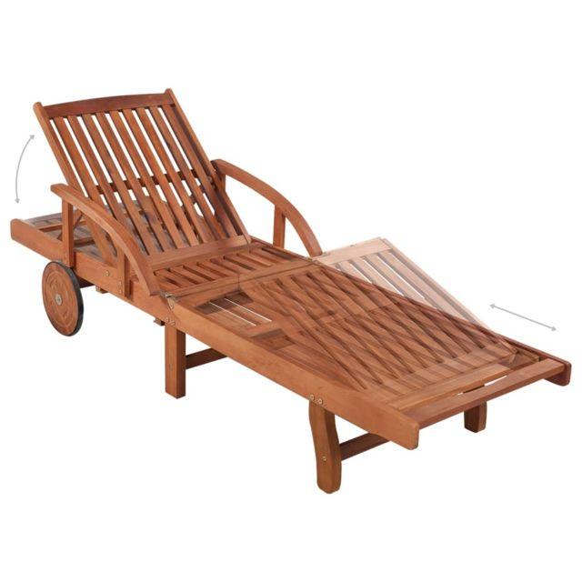 Icaverne Bains de soleil serie Chaise longue Bois d'acacia solide