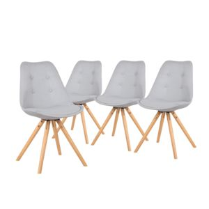 bobochic fiska lot de 4 chaises design scandinave gris clair pas cher achat vente. Black Bedroom Furniture Sets. Home Design Ideas