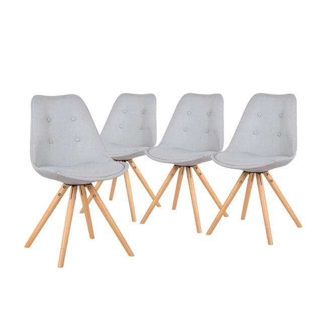 Bobochic fiska lot de 4 chaises design scandinave gris clair pas cher achat vente - Chaise de cuisine design pas cher ...