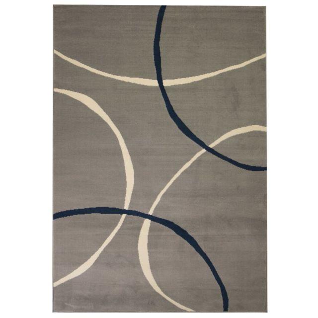 Vidaxl Tapis Moderne Design De Cercles 140 X 200 Cm Gris