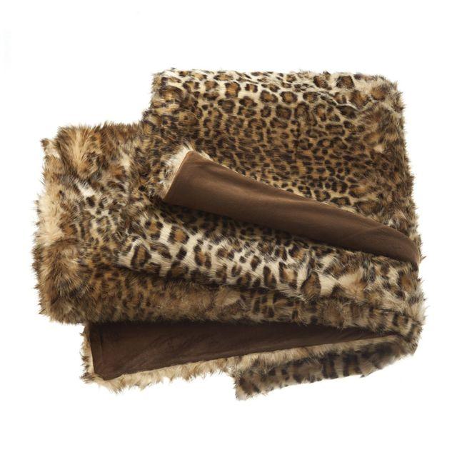 204cd1670c86 Tradition Des Vosges - Plaid Leopard Marron - pas cher Achat   Vente  Couvertures et plaids - RueDuCommerce