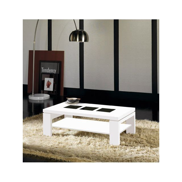 Kasalinea Table basse blanc brillant et verre noir contemporaine Roseline