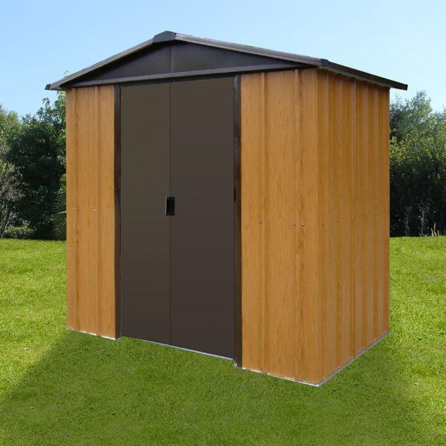 vente chaude en ligne b2c0f fbee2 Abri de jardin métal 5,97 m² - aspect bois et marron