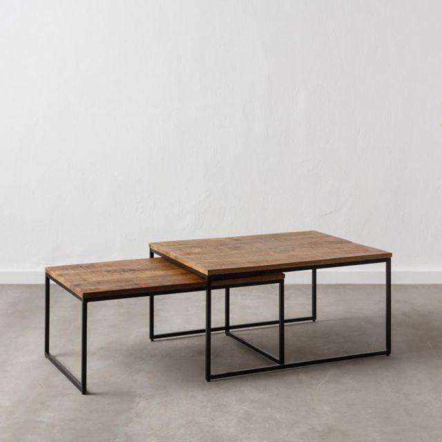Tousmesmeubles Tables gigognes rectangulaires Bois/Métal - Doudia n°1