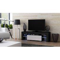 Dusine - Meuble Tv Spider à Led en Mat Noir avec porte Blanc Laqué 130 cm