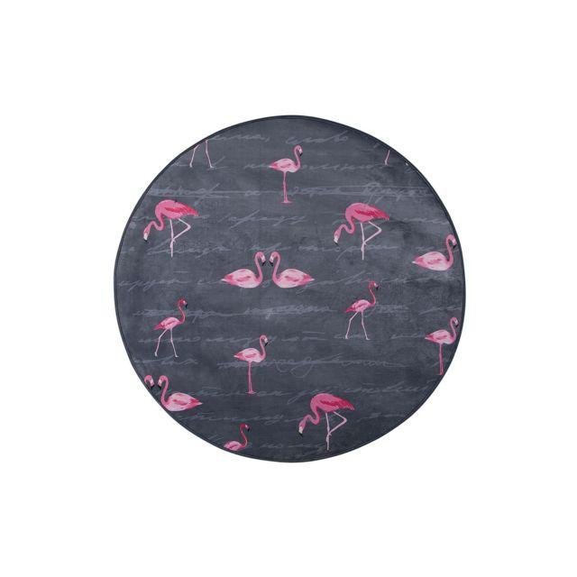 BELIANI Tapis gris rond avec flamant rose KERTE - noir