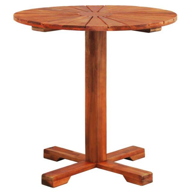 Icaverne - Tables d'extérieur ensemble Table sur pied Bois d'acacia massif 70 x 70 cm Rond