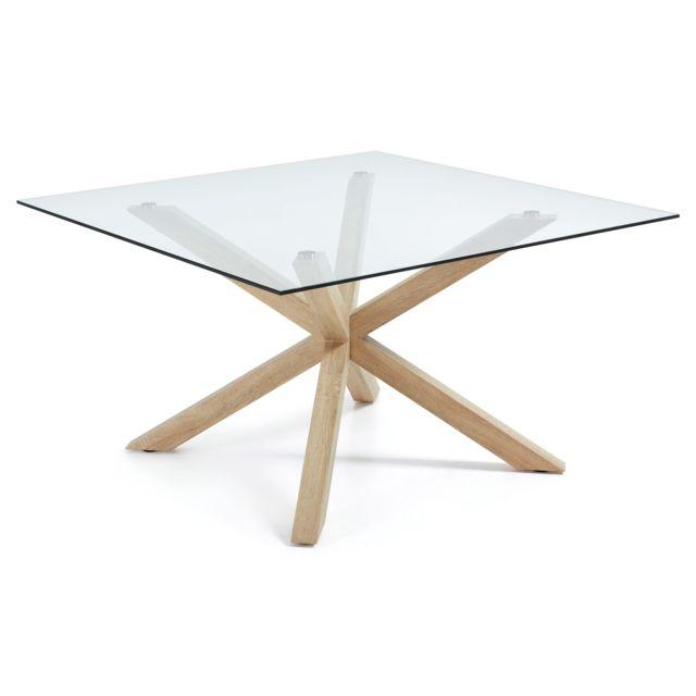 Kavehome Table Argo-c 149x149 cm, plaqué naturel et verre