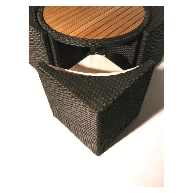 Hemisphere Editions - Table ronde fauteuils de jardin en teck et ...