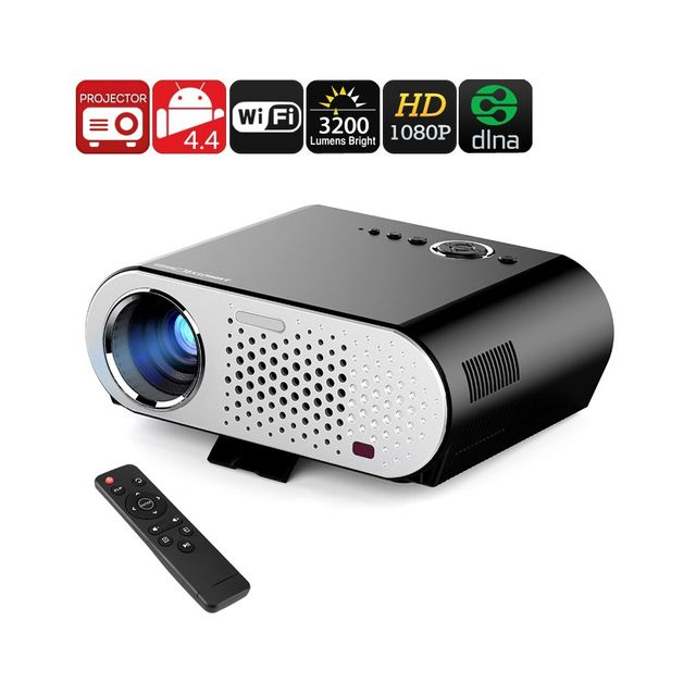Auto-hightech Projecteur video Hd Android, Wi-Fi, Dlna, Airplay, Miracast, 1080P , 3200 Lumen, 40 a 280 pouce