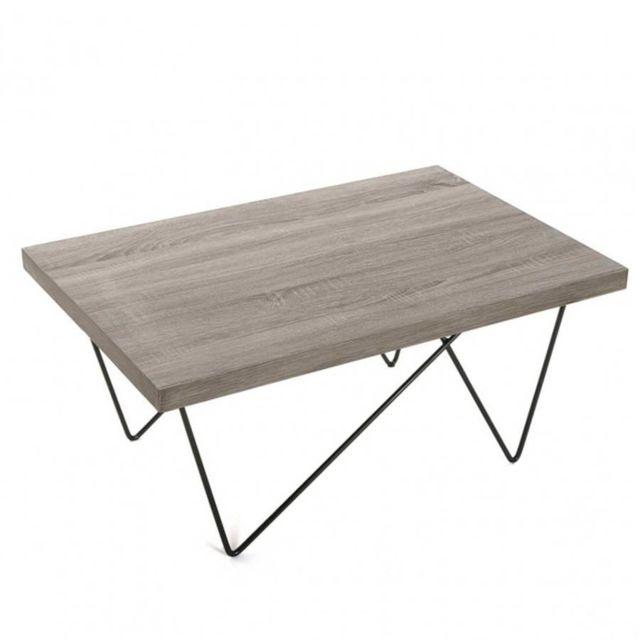 Inside 75 Table basse Fero plateau chêne pied eiffel